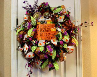 halloween wreath candy corn wreath halloween candy corn wreath fine and dandy wreath by madoorablecreations on etsy - Halloween Candy Wreath