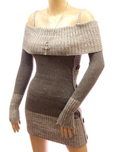 Patty Women Comfy Strappy Long Sleeve Jumper Knit Mini Dress (Grey Large)