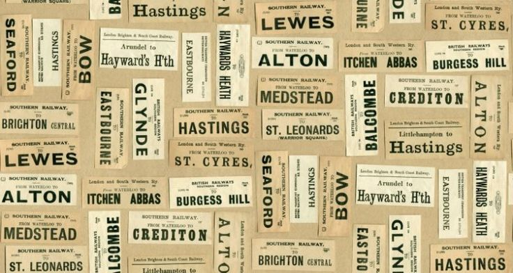 Harry's Journey (LW39/1) - Linwood Wallpapers - An all over wallpaper featuring various vintage train tickets. Shown here in various colours on a light beige background. Please request a sample for a true colour match.  Paste-the-wall product.