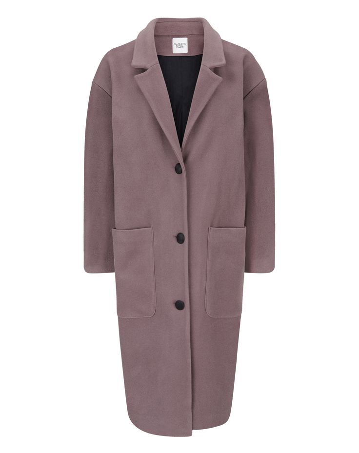 Charlotte Zimbehl's long and oversized wool blend coat 'The Marianne' in this seasons colour mauve. Made in London