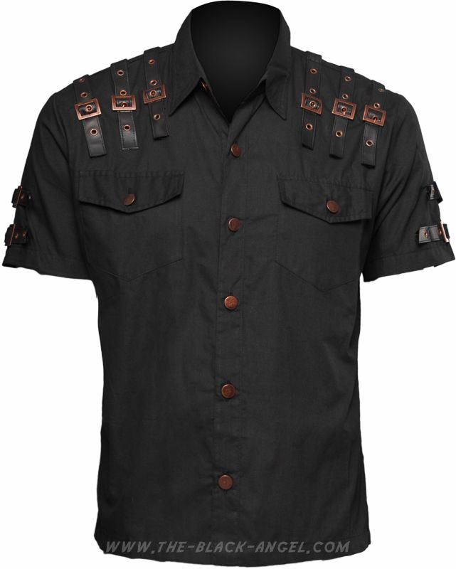 Gothic shirt from Raven SDL's steampunk clothing line, short sleeves and aged hardware.
