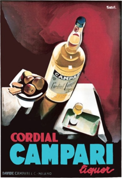 "By Marcello Nizzoli, 1 9 2 6, ""Campari,  Cordial liquor"" futurist poster for the Italian aperitive. (I)"
