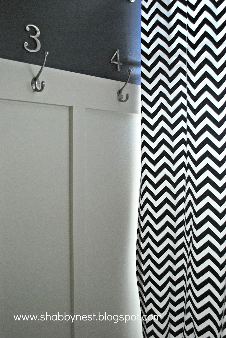 The Shabby Nest: Navy and White Bathroom: The Reveal~