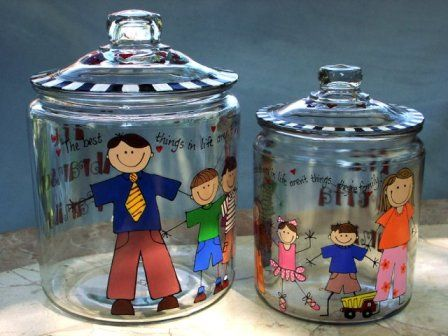 """Handpainted """"Family Characters"""" Cookie Jar  -2 sizes to choose from. 2-3 weeks please."""