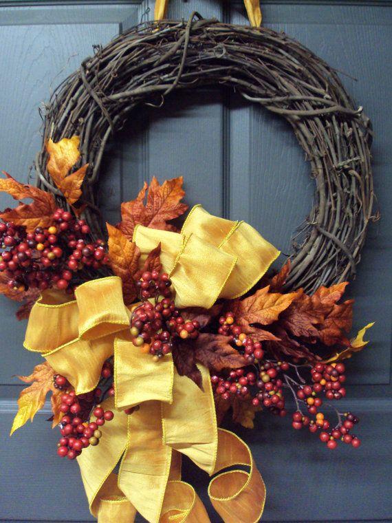 Fall Wreath Autumn Wreath Front Door Wreath by PeriwinkleSilks