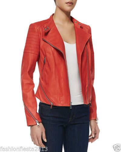 Women'S Fashionable Red Designer Real Soft Lambskin Biker Leather Jacket W56