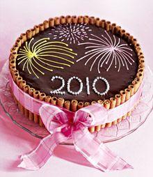 Uudenvuodenaattona kakkukin räiskyy ja rätisee. Makeassa sydämessä maistuvat nugaa ja manteli.Katso uudenvuoden kakun resepti täältä.Kakun kokoaminen1. Leikkaa kakkulevyistä kaksi ympyrää. Käytä malli...