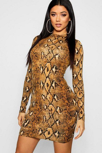 adf1534ea4bbc Boohoo Long Sleeve Snake Print Bodycon Dress | Animal Prints ...