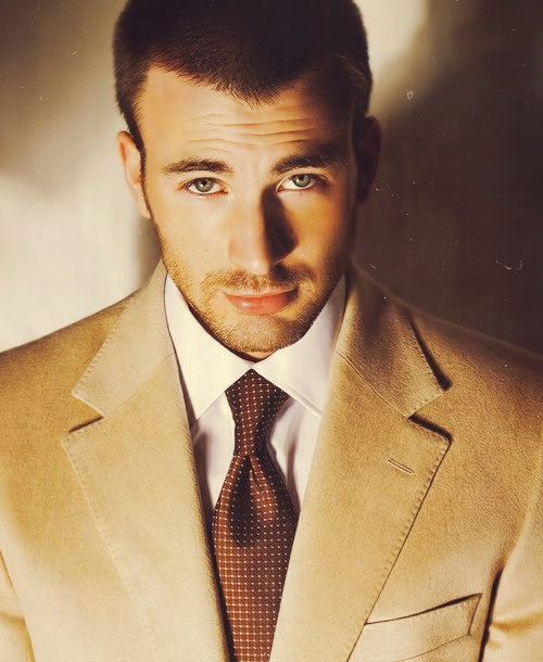 "Chris Evans. He's beckoning me. ""Come closer."" Mmm. Okay!"