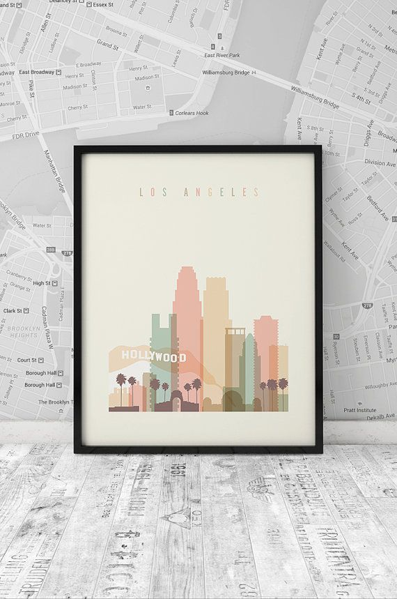 Los Angeles skyline, Printable Wall Art, California Poster, wall decor, typography art, Los Angeles cityscape poster print, INSTANT DOWNLOAD