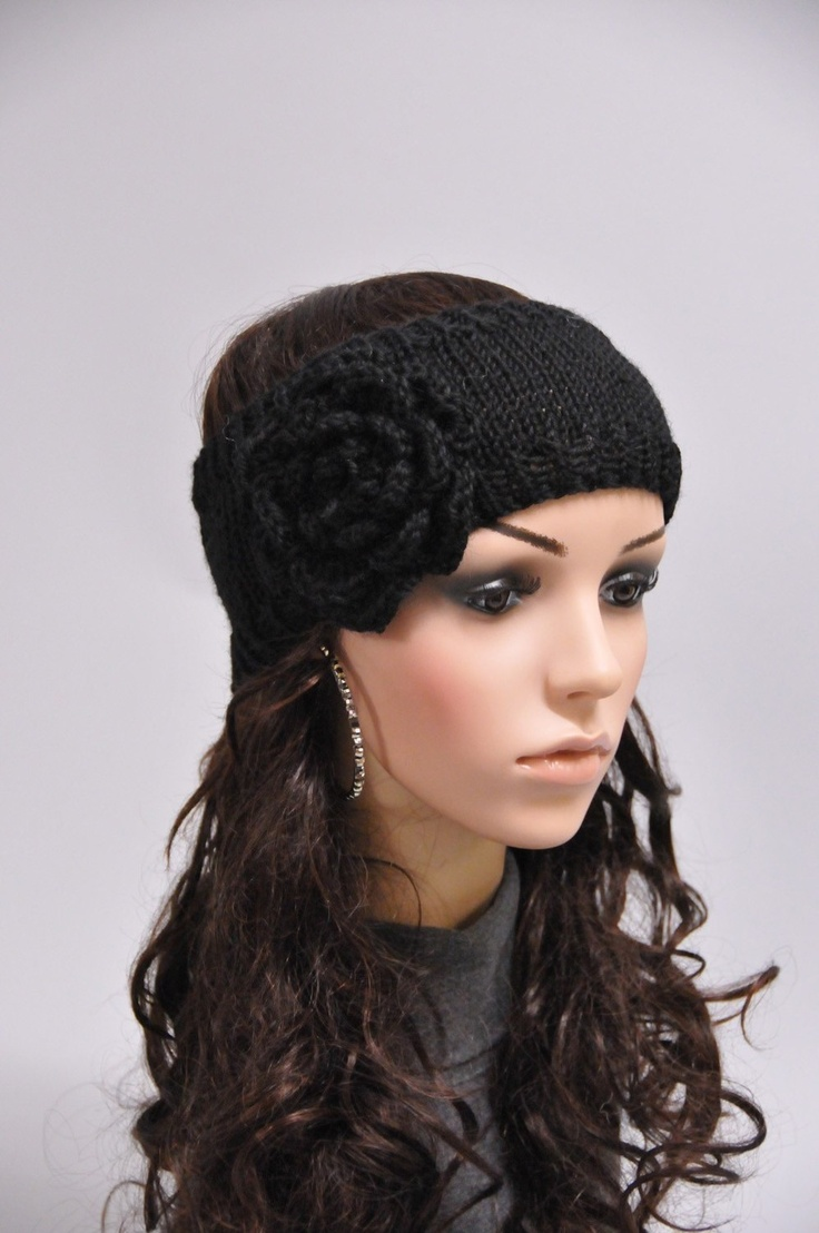 Black Hand knit Head Band with crochet flower