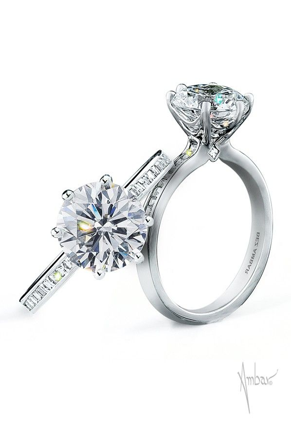 The Spider web White gold engagement ring- is a crisp, clean mounting with a six prong spiderweb shaped head and a shank set half way down with Blaze® diamonds.  http://www.bezambar.com/shop/spider-web-white-gold-engagement-ring/