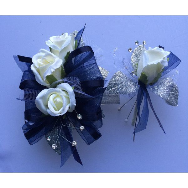 Navy Blue Silk Corsage n Boutonniere Set, Prom n Wedding ($27) ❤ liked on Polyvore featuring jewelry, rose jewelry, sparkle jewelry, navy blue jewelry, prom jewellery and ribbon jewelry