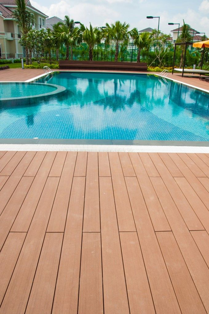 Pvc swimming pool deck designs swimming pool composite decking outdoor floor for sale - Above ground composite pool deck ...