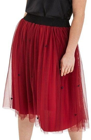 a238ee3b218 ELVI Red Tulle Beaded Skirt