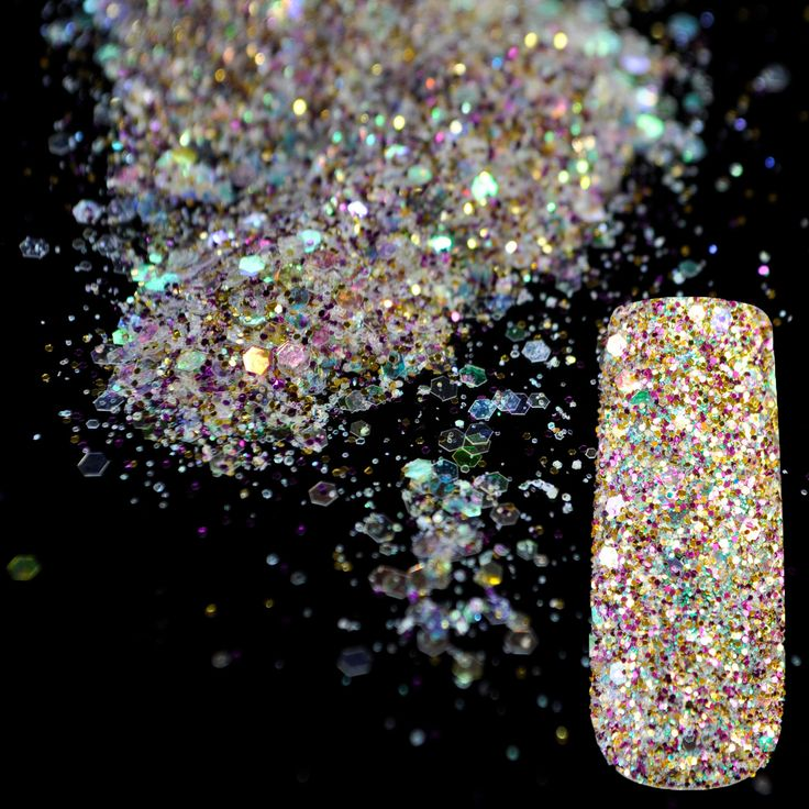 Shining Abalone Transparents Sequins Dust DIY Nail Art Glitter Gem Nail Designs Purple Gold Acrylic UV Mix Glitter Powder 283