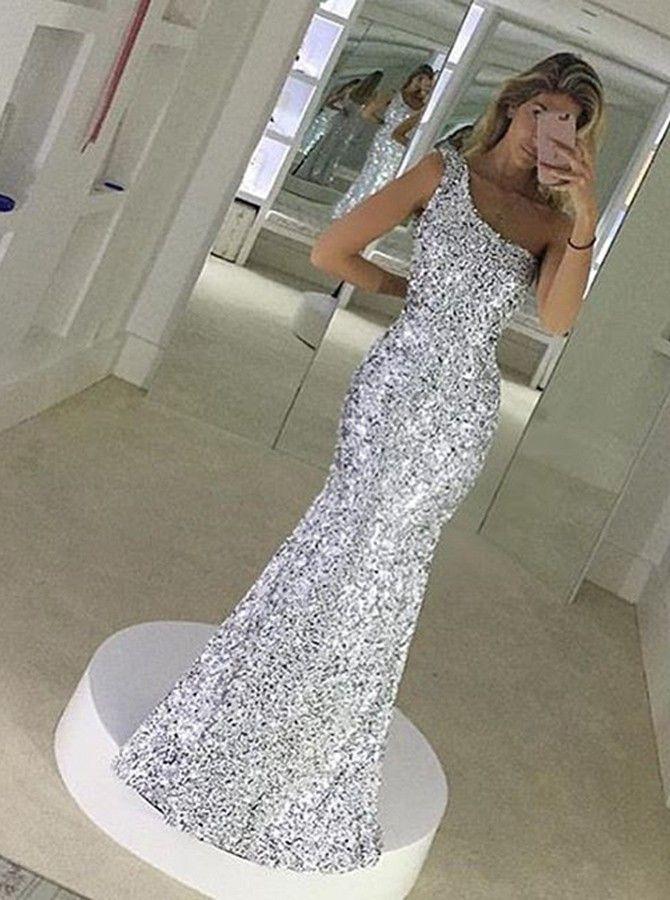 Stunning One Shoulder Floor-Length Silver Mermaid Sequins Prom Dress
