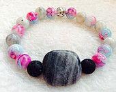 Marble lava stone essential oil diffuser bracelet