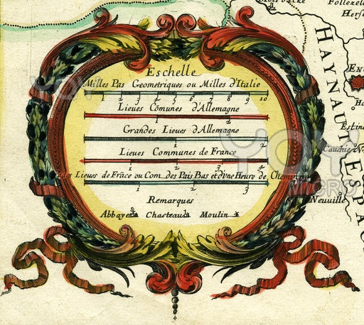 Cartouche of 18th century old map