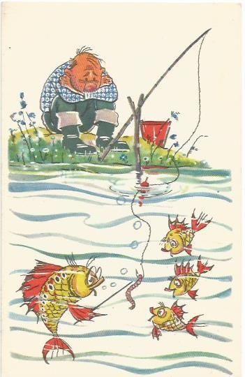 """""""Тема сегодняшнего урока червяк, как наживка!.."""" художники А.Орлов и А.Шварц, 1968 г."""