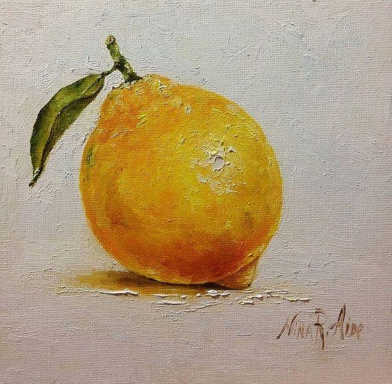 Wonderful Lemon Fresh Still Life Original Oil Painting By Nina R.Aide Still Life  Kitchen Art Small Daily Painting Home Wall Decor