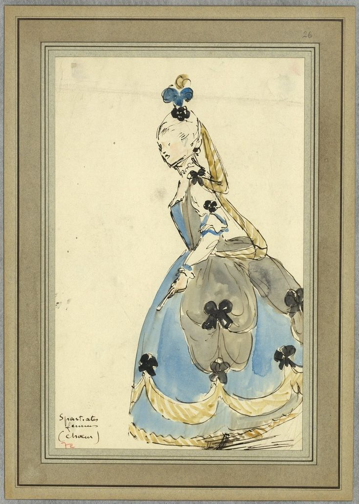 """Costume design (1918), by Jacques Drésa (1869-1929), for a Spartan woman, in """"Castor et Pollux"""" (1737), by Jean-Philippe Rameau (1683-1764)."""