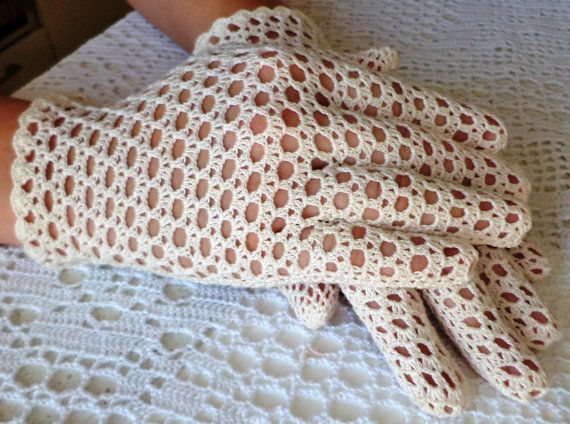 Vintage Style Crochet Lace Gloves Wedding  by WillowFairyJewelry, $46.00