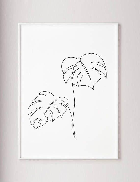 Monstera Linie Kunst, Tropic Blätter drucken, abstrakte botanische Pflanzen Wanddekoration, m…