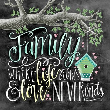 Family Where Life Begins And Love Never Ends Chalk by TheWhiteLime