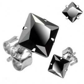 Black Square CZ Set Stone Stainless Steel Earrings 3mm #fashion #jewellery #earring #black