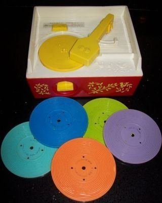 1970's toy record player - it has a new edition now just like the old one.  My daughter has one now.  :)