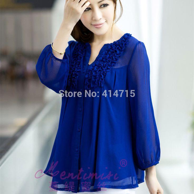 2017 summer blusas women blouses plus size 3XL 4XLtops long sleeve chiffon blouse shirt double layer ruffle hem camisas feminina