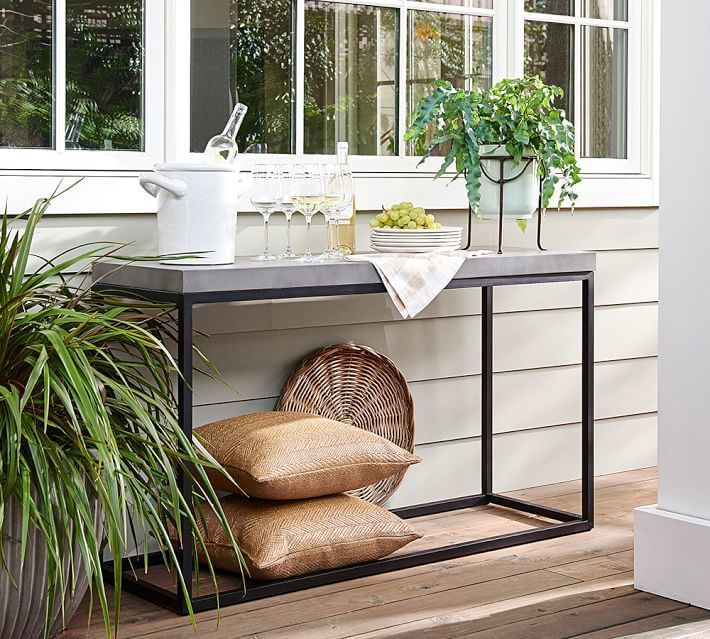 Console Table Pottery Barn A Bold Combination Of Solid Concrete - Pottery barn outdoor console table