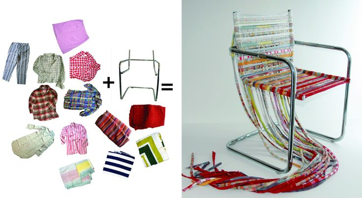 Scaun din cadru metalic şi haine reciclate. http://moodboards.ro/lum-berlin-lisa-spengler-si-moa-hallgren-fac-piese-de-design-recicland-mobila-si-textile/
