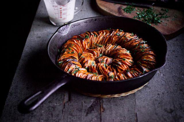 Crispy Sweet Potato Roast with Herbed Coconut Crème Fraîche by carey nershi, via Flickr