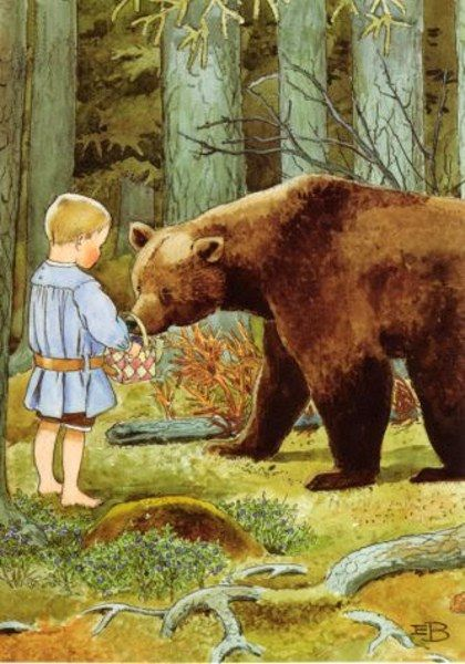 """Giving Berries To A Bear"" - by Elsa Beskow (1874-1953, Swedish)"