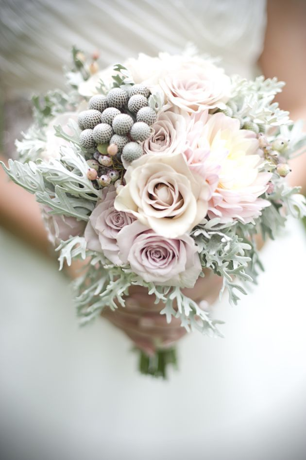 Pastel wedding bouquet - dahlias, amnesia roses, ivory roses, brunia and dusty miller. #wedding #bouquet