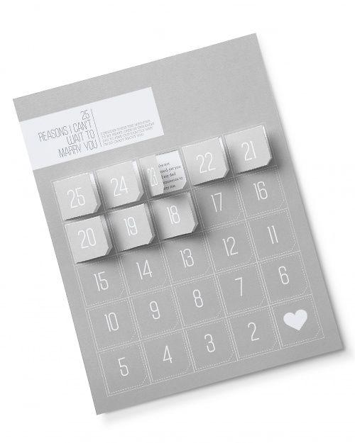 un calendrier de l'avant…mariage ou love day ou tout ce que vous voulez! J'adoooooore !!! source : martha stewart/WALLT