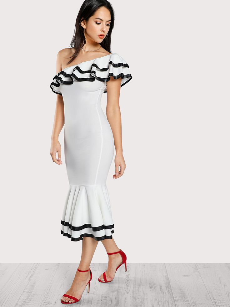 Shop Contrast Binding Layered Flounce Fishtail Dress online. SheIn offers Contrast Binding Layered Flounce Fishtail Dress & more to fit your fashionable needs.