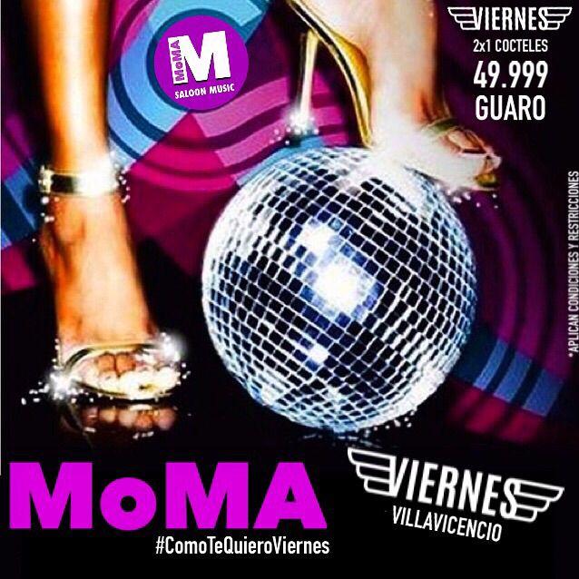 Hoy en MoMA Villavicencio damos inicio a este puente festivo. ..2x1 en toda la cocteleria y Agte Llanero a 49.999...Reserva ya!