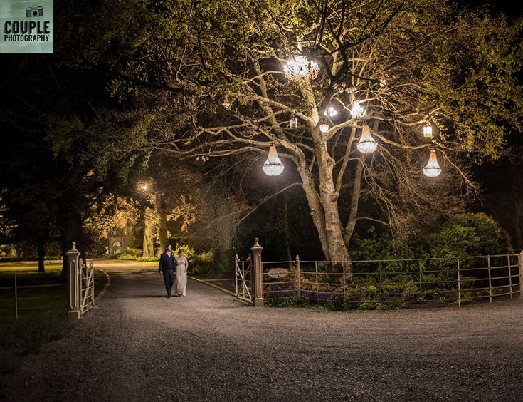 Nightime at Ballymagarvey Village. Weddings at Ballymagarvey Village photographed by Couple Photography.