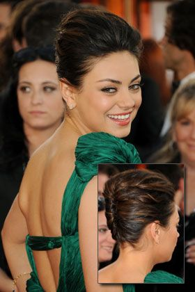 Mila Kunis' modern french twist - idea to change hair up for the reception or halfway through the reception perhaps after sweating from dancing?