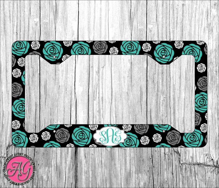 custom license plate frame add your name choose your color flower pattern