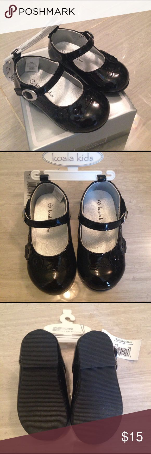 NWT toddler girl dress shoes This dress shoe is perfect for special occasions like weddings, easter, Christmas, or church. Black, size 4, true to size. Man made leather. From a smoke free, pet free home. Koala Kids Shoes Dress Shoes