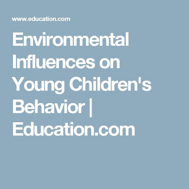 Environmental Influences on Young Children's Behavior | Education.com
