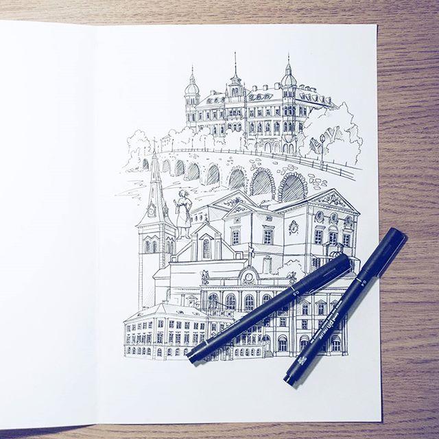 By Elin Östberg  Karlstad originaket är klart! Next up: vektorisering och tryckning! #Karlstad #solaikarlstad #sketch #teckning #sketchbook #skiss #målning #teckna #doodle #drawing #fineliner #ink #city #wallart #urbansketches #usk #urbanart #architecture #print #print #stadsverk