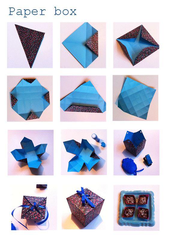 DIY - paper-box  (testé - manque 1ère étape pliure du carré en 4 pour permettre le pliage)