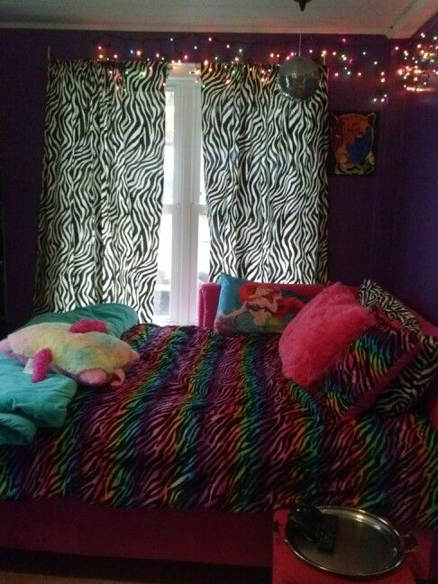 Bellau0027s Bedroom . Zebra Print. Rainbow. Pink Bed. Teenage Girl Bedroom. |  Bellau0027s Bedroom | Pinterest | Girls Bedroom, Bedroom And Teen Girl Bedrooms