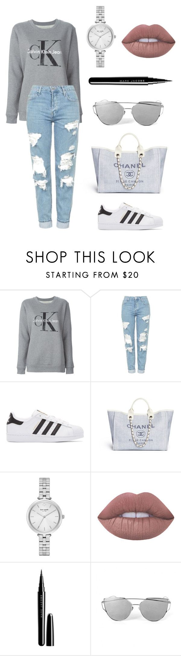 """""""cool?"""" by itsamandarose on Polyvore featuring Calvin Klein Jeans, Topshop, adidas Originals, Kate Spade, Lime Crime and Marc Jacobs"""