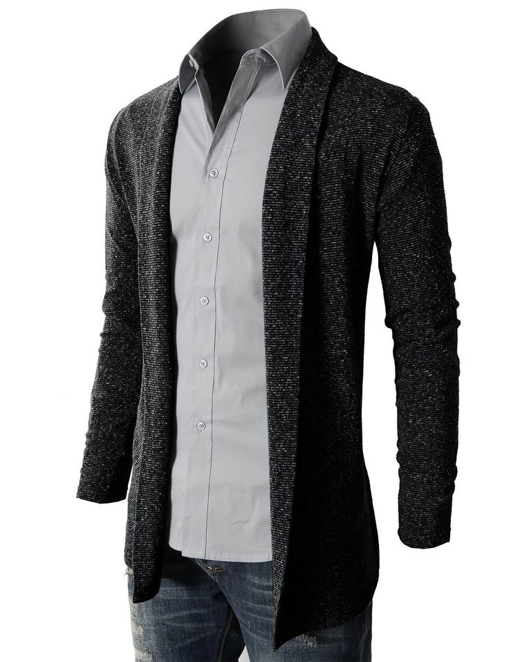 H2H Men's Shawl Collar Cardigan With No Button at Amazon Men's Clothing store: Cardigan Sweaters